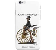STEAMPUNK PENNY FARTHING BICYCLE BIRTHDAY CARD iPhone Case/Skin