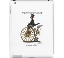 STEAMPUNK PENNY FARTHING BICYCLE BIRTHDAY CARD iPad Case/Skin
