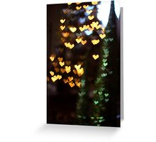 Christmas heart bokeh Greeting Card