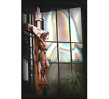 jesus and mary in glass building Photographic Print