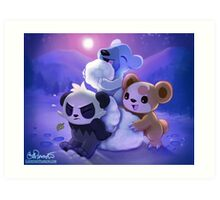 Christmas Teddies Art Print