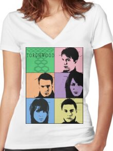 Torchwood Pop Art Women's Fitted V-Neck T-Shirt