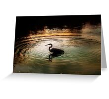 Silhouette of Blue Heron in Rainbow rings Greeting Card