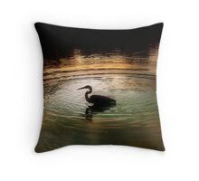 Silhouette of Blue Heron in Rainbow rings Throw Pillow