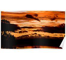 Sunset on Taupo lake  Poster