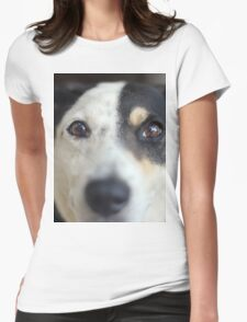 Peering Pooch Womens Fitted T-Shirt