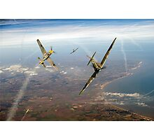 Battle of Britain duellists: Spitfire and Bf 109 head to head Photographic Print