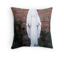 Mother Mary in the Garden Throw Pillow
