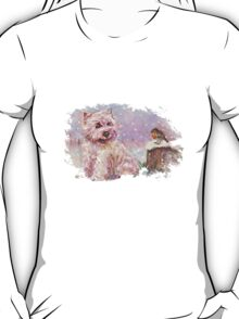 Westie meets Robin in the Snow T-Shirt