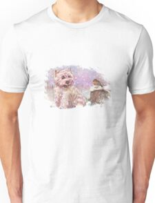 Westie meets Robin in the Snow Unisex T-Shirt