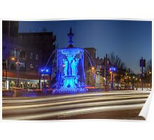 Blue Fountain Dusk Poster