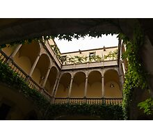 Courtyard - Green Mediterranean Serenity and Peace Photographic Print