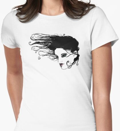 Floating Hair Womens Fitted T-Shirt