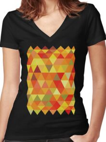 Red Orange Yellow Color Pattern Combination Women's Fitted V-Neck T-Shirt