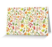 Watercolor autumn leaves pattern Greeting Card