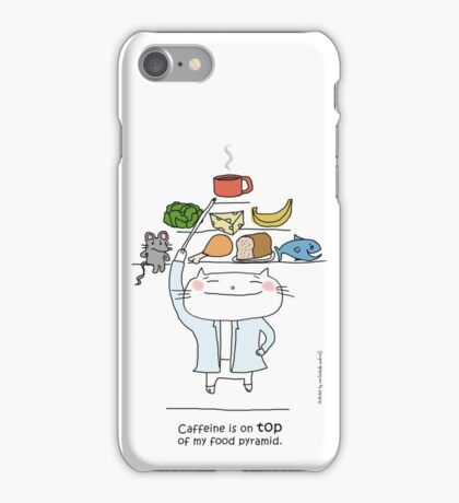 Caffeine is on top of my food pyramid./ Cat doodle iPhone Case/Skin