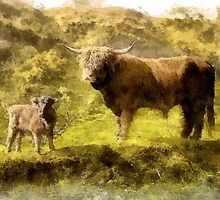 Father and son (highland cattle) - mugs by Dennis Melling