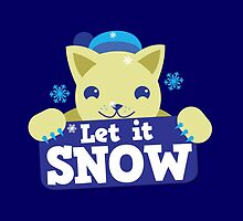 Let it snow with cute cat and snowflakes by jazzydevil