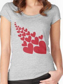 Love valentines day hearts Women's Fitted Scoop T-Shirt