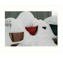 patio snow garden Art Print