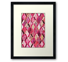 Wild Pink & Pretty Diamond Patchwork Pattern Framed Print