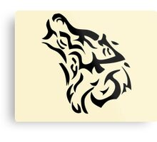 Tribal wolf head on light brown background Metal Print