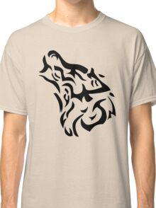Tribal wolf head on light brown background Classic T-Shirt
