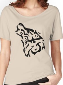 Tribal wolf head on light brown background Women's Relaxed Fit T-Shirt