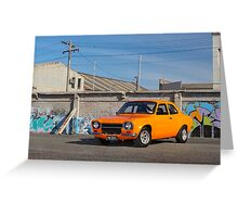 Orange Ford Escort Mk1 Greeting Card