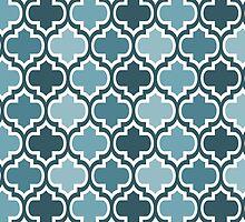 Four Shades Quatrefoil Pattern Duck Egg by Ra12