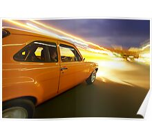 Orange Ford Mk1 Escort at Night Poster