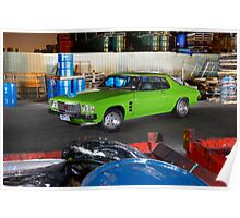 Green Holden HJ Monaro at night Poster