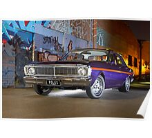 Purple Ford Falcon XY at night Poster