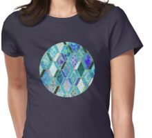 Sapphire & Emerald Diamond Patchwork Pattern Womens Fitted T-Shirt