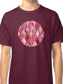 Wild Pink & Pretty Diamond Patchwork Pattern Classic T-Shirt