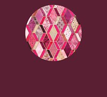 Wild Pink & Pretty Diamond Patchwork Pattern Womens Fitted T-Shirt