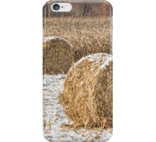 Snowy Cornstalk Bales iPhone Case/Skin