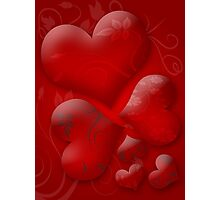 Glossy hearts background Photographic Print
