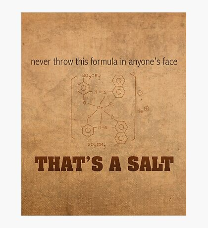 Never Throw This Formula in Anyones Face Thats a Salt Humor Poster Photographic Print