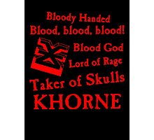 Khorne, the Blood God Red Photographic Print