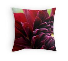 Red dahlia with insect Throw Pillow
