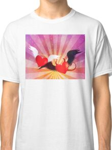 Good and evil hearts background Classic T-Shirt