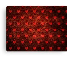 Grunge red pattern with hearts Canvas Print