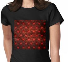 Grunge red pattern with hearts Womens Fitted T-Shirt