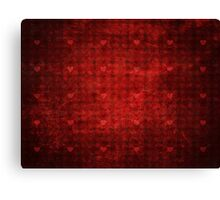 Grunge red pattern with hearts 3 Canvas Print