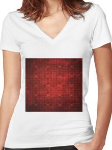Grunge red pattern with hearts 3 Women's Fitted V-Neck T-Shirt