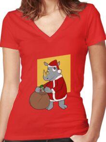 Christmas Rhinoceros  Women's Fitted V-Neck T-Shirt