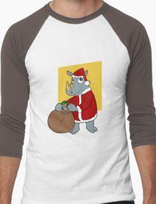 Christmas Rhinoceros  Men's Baseball ¾ T-Shirt