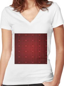 Grunge red pattern with hearts 5 Women's Fitted V-Neck T-Shirt