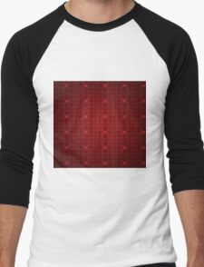 Grunge red pattern with hearts 5 Men's Baseball ¾ T-Shirt